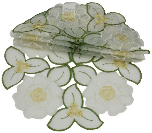 Xia Home Fashions Dainty Flowers Round Doily, 8-Inch, Set of 4