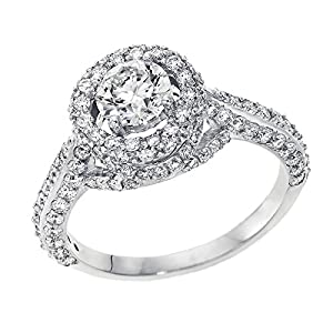 IGI Certified 14k white-gold Round Cut Diamond Engagement Ring (1.95 cttw, J Color, SI1 Clarity) - size 7.5