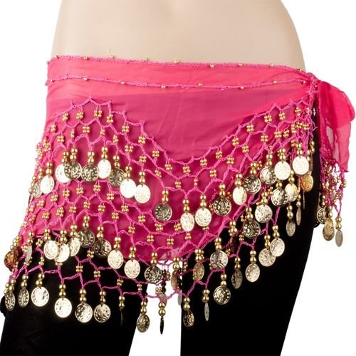 REINDEAR Vogue Style Chiffon Dangling Gold Coins Belly Dance Hip Scarf US Seller (Hot Pink)
