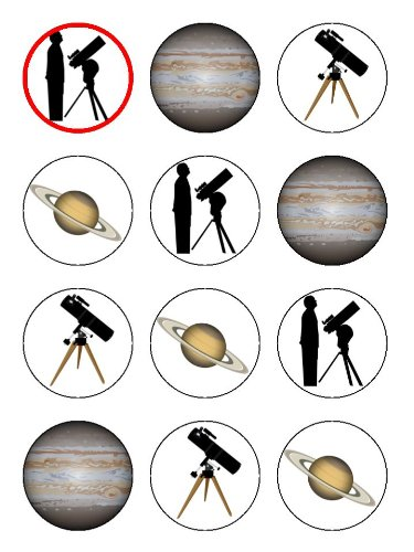 "Twelve 2"" Astronomy And Telescope Birthday Edible Image Cup Cake Toppers Decorations On Edible Wafer Rice Paper"