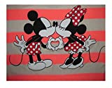 Disney Mickey Minnie Mouse Kissing Juniors Long Sleeve Striped Sweater