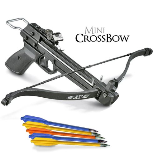 50 lb. Mini Crossbow Pistol Hand Held Gun Archery Hunting Cross Bow w/ 5 Arrows