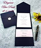 All-in-One Pocket Invitation Kit - Navy Blue Elegance - Pack of 20