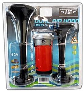 AGT Air Horn Train Horn Black Dual Trumpet Kit 12V Car & Boat Marine