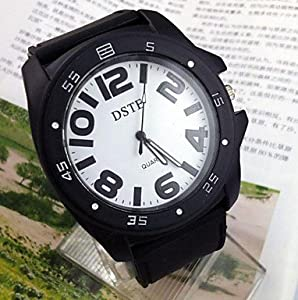 Mens Large Font Dial Silicone Strap Black White Sports Wrist Watch(Assorted Colors) ( Color : 1# )