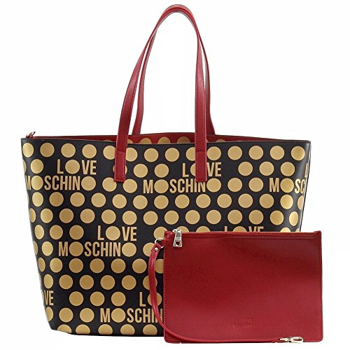 Borse Shopping Love Moschino Donna PVC Nero, Rosso e Oro o Rosso e Oro JC4084PP12LM000A Nero 17x31x35 cm
