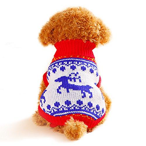 TANG imp Cucciolo Cane Teddy Natale Maglia Maglione Vestiti Pet Cane Inverno Caldo Cappotto Felpe Costume Blu Cervo L