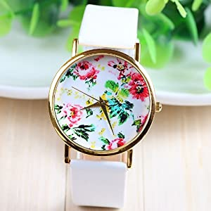 New Fashion Leather Geneva Rose Flower Dress Watches for Women 3 Colors (white)