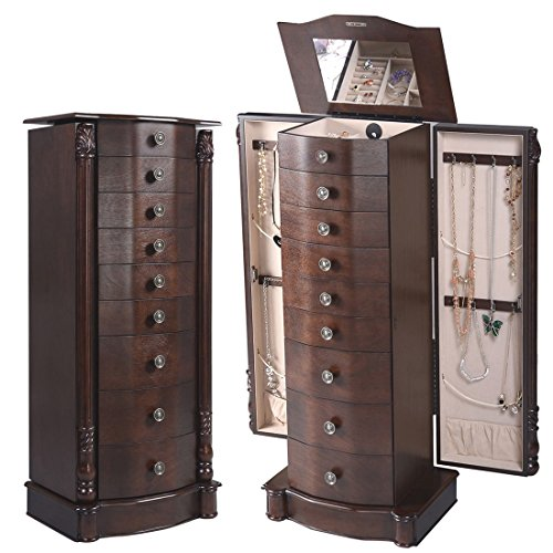 2016 Wood Jewelry Cabinet Armoire Box Storage Chest Stand Organizer Necklace (Ohio Table Pad Company compare prices)