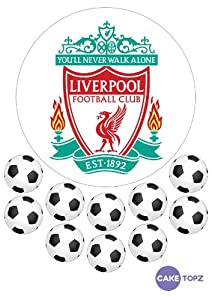 Customisable Liverpool Football Cake Topper - 7.5 inches - includes 10 x 1.5 inch football toppers (Frosted Icing) by Cake Topz