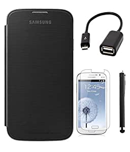 Winchip Flip Cover For Samsung Galaxy On5 With Stylus Pen, Micro OTG Cable & Tempered Glass - Black