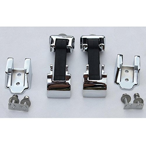 FUWAY Anti-Theft Kit Silver Hood Lock Catches Latches Kit For Jeep Wrangler JK 2007-2016