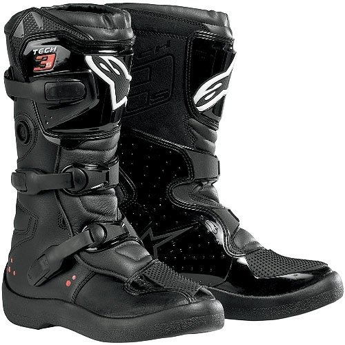 Alpinestars Tech 3S Youth Boys MX Motorcycle Boots - Black / Size 3