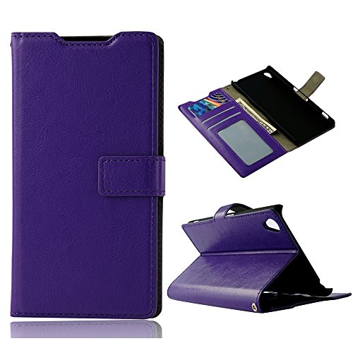 Z3 Case, Sony Xperia Z3 Case - Mollycoocle Fashion Style Colorful Wallet Style Credit Card Holder Case Magnetic Design Flip Folio Pu Leather Cover Standup Cover Case For Sony Xperia Z3(Purple)
