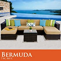 Hot Sale Bermuda 7 Piece Outdoor Wicker Patio Furniture Set 07C Sand