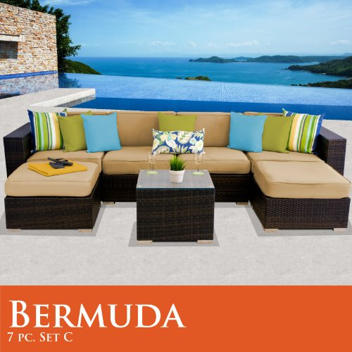 Bermuda 7 Piece Outdoor Wicker Patio Furniture Set 07C Sand