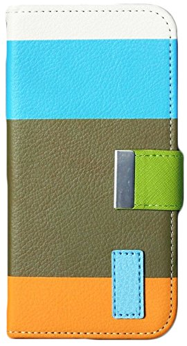 Mylife Electric Sky Blue + Tan + Orange {Thick Colorful Stripe Design} Faux Leather (Card, Cash And Id Holder + Magnetic Closing) Slim Wallet For The All-New Htc One M8 Android Smartphone - Aka, 2Nd Gen Htc One (External Textured Synthetic Leather With Ma