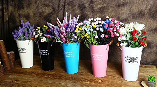 Pastoral Style Shabby Chic Larger Metal Pitcher Vase for Flowers Decoration (2, White) 3