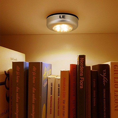 le 6 pack led battery operated stick on tap light mini under cabinet lighting 3 leds puck. Black Bedroom Furniture Sets. Home Design Ideas