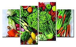Canval prit painting Food Wall Art Many Kinds of Vegetable and Lemon & Orange 4 Pieces Picture on Canvas