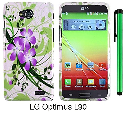 Premium Vivid Design Snap-On Protector Hard Cover Case For Lg Optimus L90 (D415) (Us Carrier: T-Mobile) + 1 Of New Assorted Color Metal Stylus Touch Screen Pen (Splash-Ink Painting Purple Green Flower On White)
