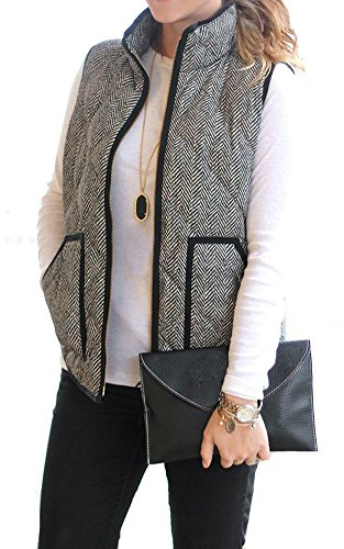 Merokeety Women's Fall Quilted Herringbone Pockets Stripe Puffer Vest with Zipper, Medium