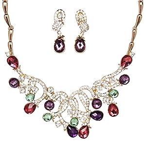 Girl Era Teardrop Chain Shining Cubic Zirconia Filigree Pendant Necklace & Earrings Sets(p)