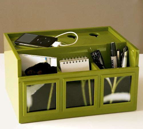 Pottery Barn All in One - Desk Organizer + Photo Caddy + Mobile Ipod Charger Surge Protector in Green Vert