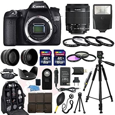Canon EOS 70D SLR Camera with EF-S 18-55mm f/3.5-5.6 IS II SLR Lens - Mark II + 58mm 2X Professional Telephoto Lens + 58mm High Definition 0.45x Wide Angle Lens + Transcend 16GB Class 10 Memory Card +Transcend 8GB Class 10 Memory Card with Much More in th