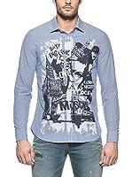 Love Moschino Camisa Hombre (Azul / Blanco)