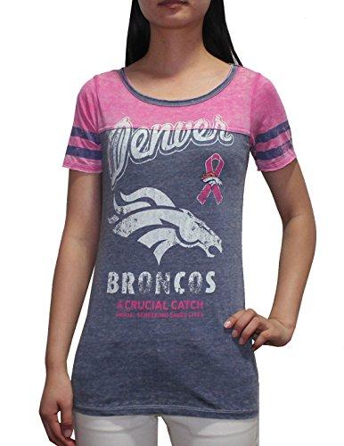 Limited Edition Nfl Denver Broncos Womens Crew-Neck T Shirt (Vintage Look) Xs Blue
