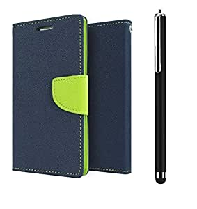 D'clair Combo of Flip Cover with Stylus for Xiaomi Redmi note Blue Green