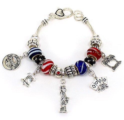 God Bless America USA Multi Bead Charm Liberty NY Vegas Florida Bracelet by Jewelry Nexus