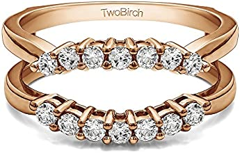 14k Gold Double Shared Prong Contour Ring Guard with Charles Colvard Created Moissanite 048 ct twt