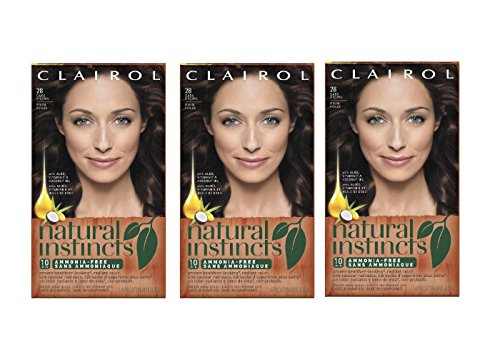 Clairol Natural Instincts  28 Nutmeg Dark Brown 1 Kit  (Pack of 3) (packaging may vary) (Clairol Color Treat Conditioner 3 compare prices)