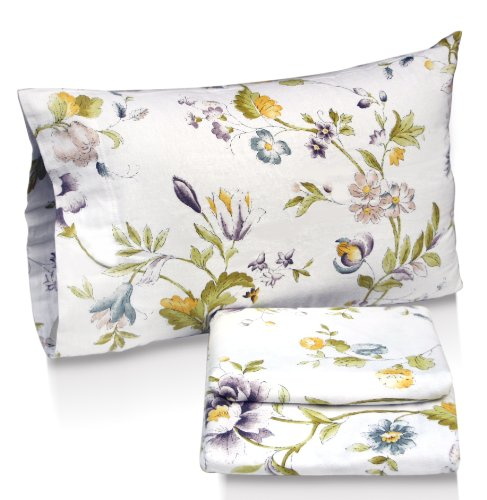 Tribeca Living Flower Park Printed Deep Pocket Flannel Sheet Set With Pillowcase, Full front-375516
