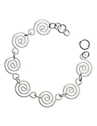 Sterling Silver Plated Celtic Spiral Link Bracelet, Suggestive of Reincarnation