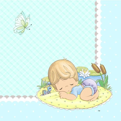 Precious Moments Baby Shower Napkins - Baby Boy Baby Shower Beverage Napkins - 16 Count