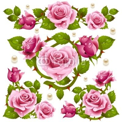 Wallmonkeys Peel and Stick Wall Decals - Pink Rose Design Elements - 24