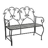 Greenware 158282-T Bank, Romantische Möbel, Deko Bistrobank, Metal Geflochten Sara, grau