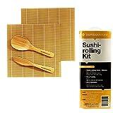BambooWorx Sushi Making Kit – Includes 2 Sushi Rolling Mats, Rice Paddle, Rice Spreader  100% Bamboo Sushi Mats and Utensils.