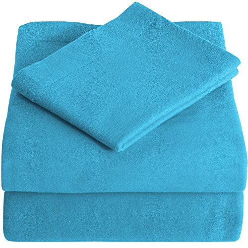 Heavyweight 100% Cotton Flannel Sheet Set Twin XL Extra Long (Twin XL, Aqua Blue) (Thick Cotton Sheets compare prices)
