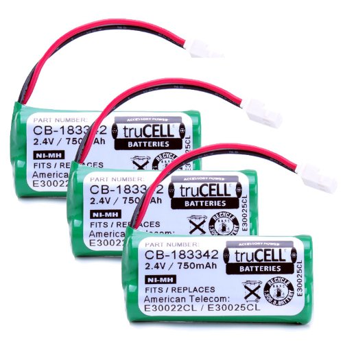 Trucell 3-Pack High-Capacity Replacement Battery For V-Tech , At&T Cordless Phones Equivalent To V-Tech Bt183342 , Bt283342 , At&T Bt166342