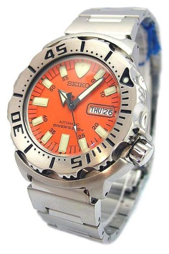 DELUXE VALUE PACKAGE SKX781 Seiko Orange Monster Stainless Steel 200m Automatic Professional Diver Watch Spring Remover Link Band Tool Extra Rubber Ba