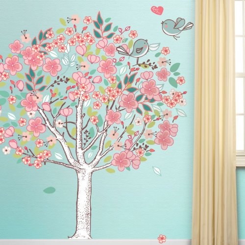 Spring Love Tree Wall Mural Sticker Kit - Peel & Stick and Removable