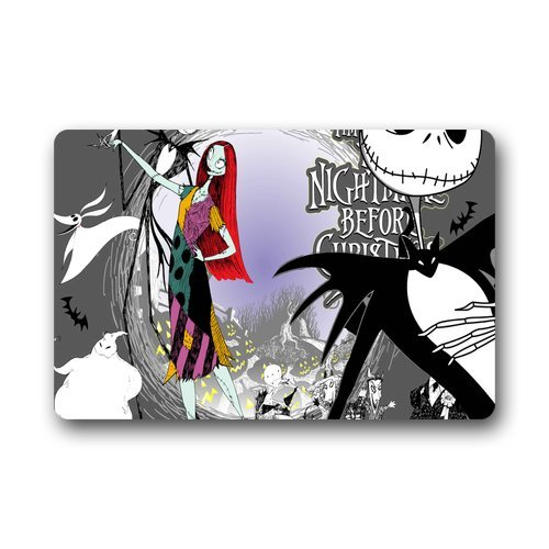 "Anhome Nightmare Before Christmas Long Hair Girl Skull Bat Doormats 23.6""X 15.7"""