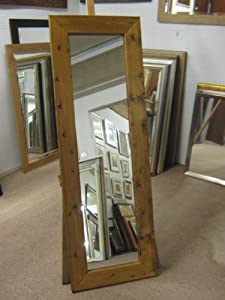 95mm CHUNKY MEDIUM OAK STAINED SOLID PINE LONG AND FULL LENGTH DRESSING MIRRORS   VARIOUS SIZES AVAILABLE (Plain MIrror Glass, 23  x 55  (58cm x 140cm))       review and more information