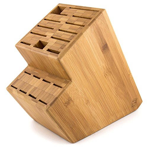 MEGALOWMART 18 Slot Bamboo Wood Kitchen Knife Block Stand Holder