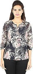 Amadeo Women's 3/4 th Sleeve Top (KRISHA22, Pink Print, Medium)