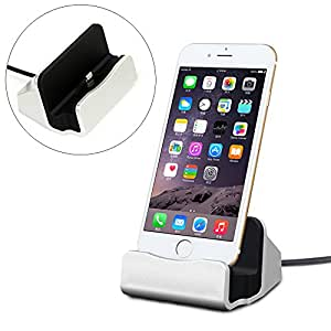 Yeworth iPhone 6S/ 6 Plus/6 Charger Cradle Dock, Desktop Charging Dock Station Cradle Charger Adapter for iPhone 6 / 6 Plus iPhone 5 / 5S / 5c and iPod touch 5 Compact (Silver)